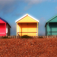 Buy canvas prints of Hazy Huts by Louise Godwin