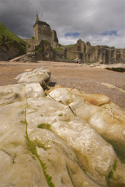 St.Andrews beach and castle Framed Mounted Print by Thomas Schaeffer