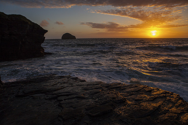SUnset at Trebarwith Canvas print by Thomas Schaeffer