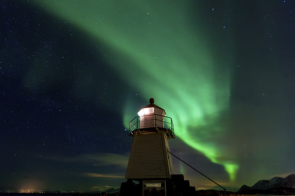 Aurora Borealis at the lighthouse Framed Mounted Print by Thomas Schaeffer