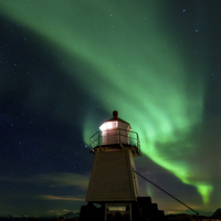 Buy canvas prints of Aurora Borealis at the lighthouse by Thomas Schaeffer