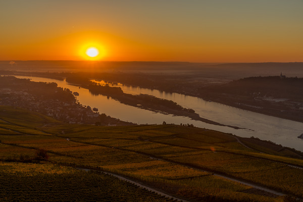 Sunrise over Rhine Canvas print by Thomas Schaeffer