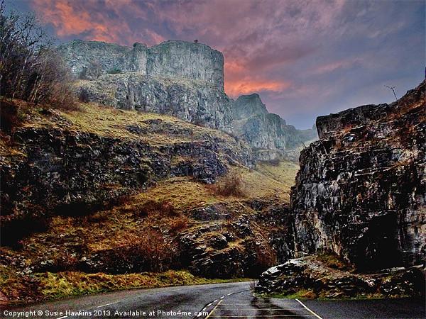 Cheddar Gorge - A winters tale. Acrylic by Susie Hawkins