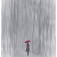 Buy canvas prints of Woman With Red Umbrella by Tom York