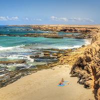 Buy canvas prints of Fuerteventura Playa de los Ojos by Simon Litchfield