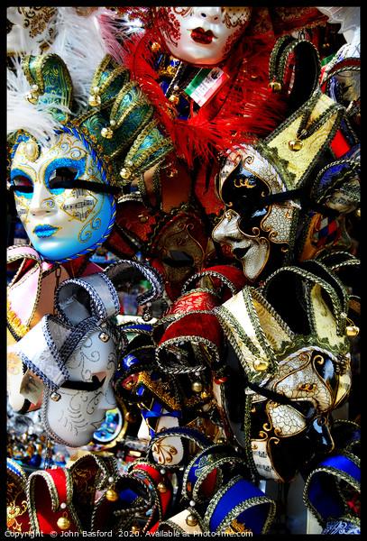 Venetian Masks Canvas print by John Basford