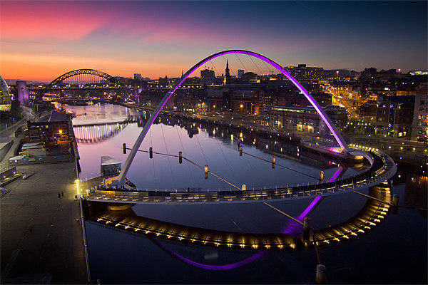 High View Twilight Tyne Framed Mounted Print by Paul Appleby
