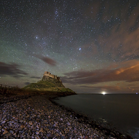 Buy canvas prints of  Lindisfarne Midnight Castle by Paul Appleby