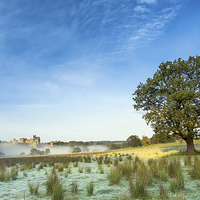 Buy canvas prints of  Alnwick Castle - frost and mist by Paul Appleby