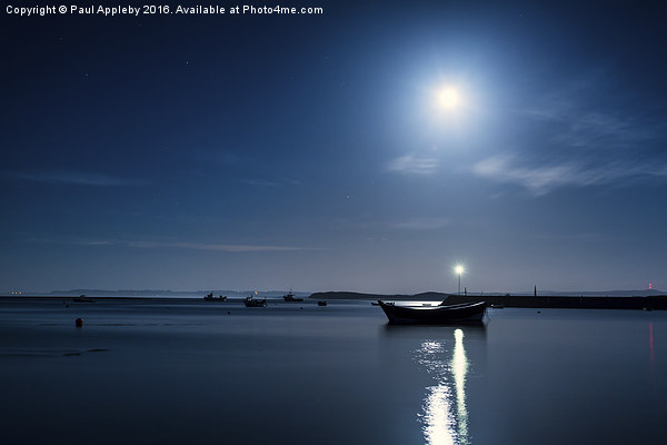 Holy Island Harbour under a Blue Moon Canvas print by Paul Appleby