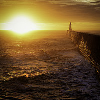 Buy canvas prints of Tynemouth Pier Autumn Sunrise by Paul Appleby