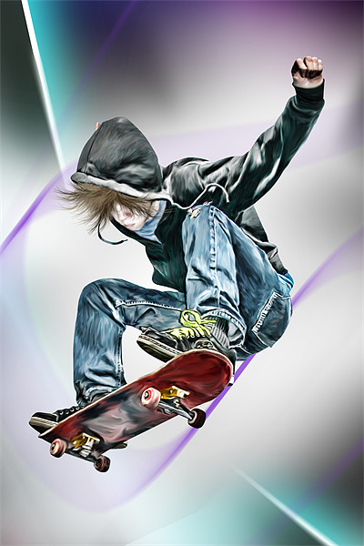Extreme Skateboarding Jump Closeup Canvas print by Julie Hoddinott
