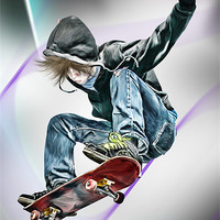 Buy canvas prints of Extreme Skateboarding Jump Closeup by Julie Hoddinott