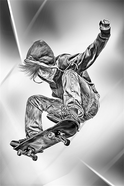 Skateboard Jump Canvas print by Julie Hoddinott