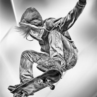 Buy canvas prints of Skateboard Jump by Julie Hoddinott