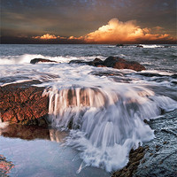 Buy canvas prints of Dunbar Evening Sea Waves by Keith Thorburn