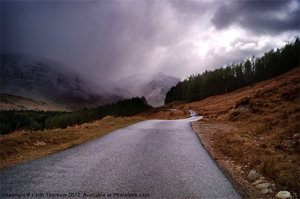 Road to Loch Etive Canvas print by Keith Thorburn