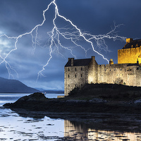 Buy canvas prints of Lightning over Eilean Donan Castle by Keith Thorburn