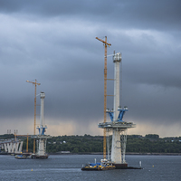 Buy canvas prints of New Forth Bridge Construction by Keith Thorburn LRPS