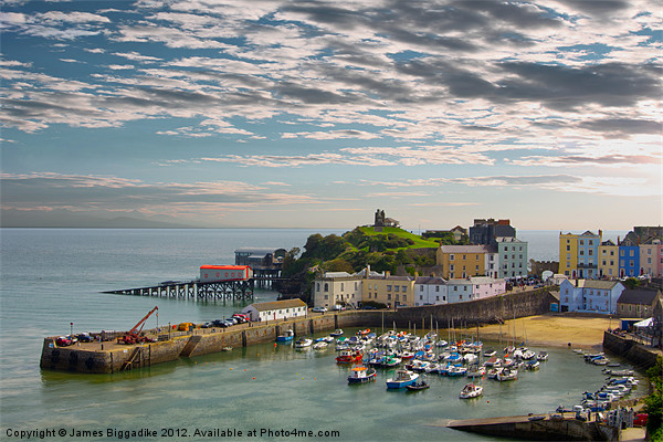 Tenby Harbour at Dusk Canvas Print by J Biggadike