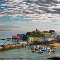Buy canvas prints of Tenby Harbour at Dusk by J Biggadike