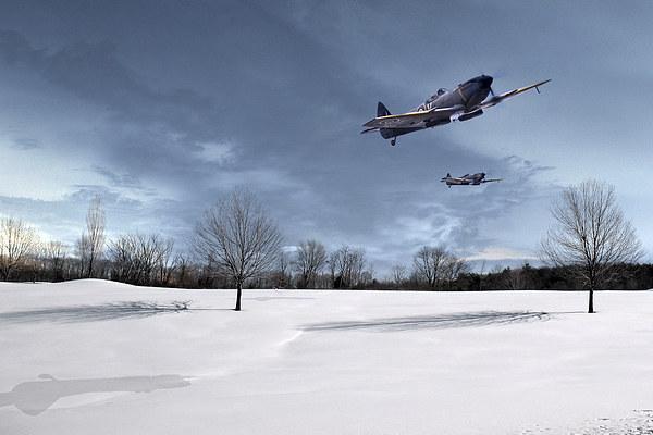 Spitfires - Skimming the Trees Canvas Print by J Biggadike