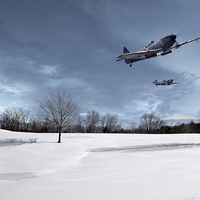 Buy canvas prints of Spitfires - Skimming the Trees by J Biggadike