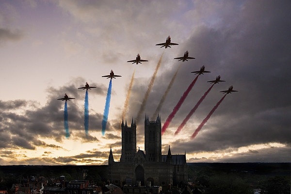Red Arrows over Lincoln Cathedral Canvas print by J Biggadike