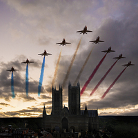 Buy canvas prints of Red Arrows over Lincoln Cathedral by J Biggadike