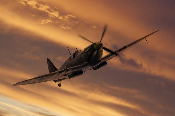 Spitfire Sunset Pass Canvas print by J Biggadike