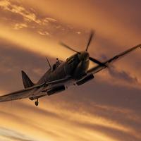 Buy canvas prints of Spitfire Sunset Pass by J Biggadike