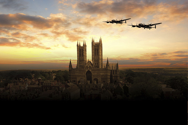Lancs over Lincoln  Canvas print by J Biggadike