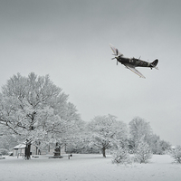 Buy canvas prints of A Spitfire Winter  by J Biggadike