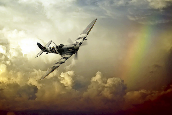 Spitfire Passing Through The Storm  Framed Mounted Print by J Biggadike
