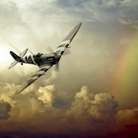 Buy canvas prints of  Spitfire Passing Through The Storm  by J Biggadike