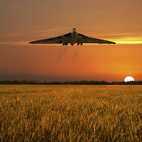 Buy canvas prints of Vulcan Farewell Fly Past by J Biggadike