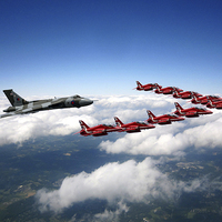 Buy canvas prints of Flying with XH558 and The Reds by J Biggadike