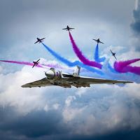 Buy canvas prints of Vulcan Red Arrows Break by J Biggadike