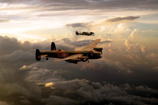 RAF Lancaster and Spitfire Canvas Print by J Biggadike