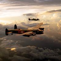 Buy canvas prints of RAF Lancaster and Spitfire by J Biggadike