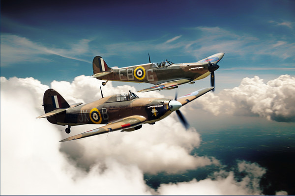 BBMF Spitfire and Hurricane Canvas print by J Biggadike