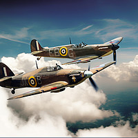 Buy canvas prints of BBMF Spitfire and Hurricane by J Biggadike
