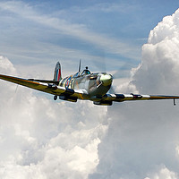 Buy canvas prints of Spitfire Portrait of a Hero by J Biggadike