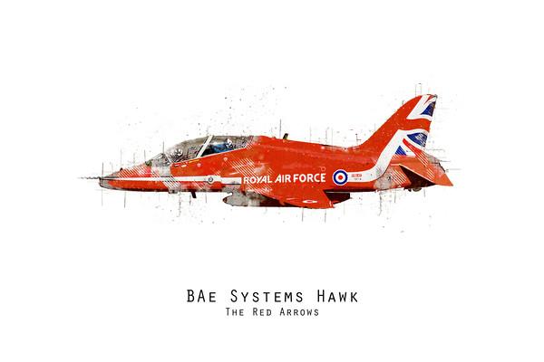 Hawk Sketch - Red Arrows Canvas Print by J Biggadike