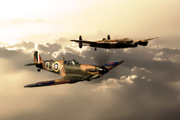 BBMF Spitfire and Lancaster Canvas Print by J Biggadike