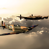 Buy canvas prints of BBMF Spitfire and Lancaster by J Biggadike