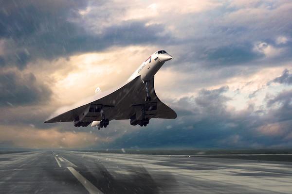 Concorde Rainy Arrival Canvas print by J Biggadike