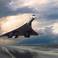 Buy canvas prints of Concorde Rainy Arrival by J Biggadike