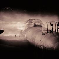 Buy canvas prints of Vintage Lancaster Bomber by J Biggadike