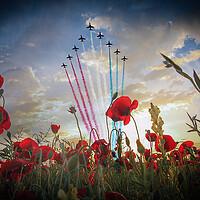 Buy canvas prints of Red Arrows Tribute - Digital Painting by J Biggadike